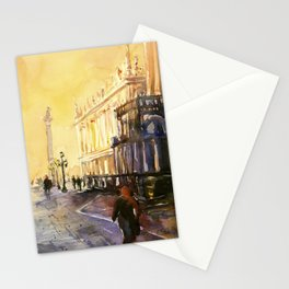Lion of San Marco statue in Piazza di San Marco at dawn- Venice, Italy Stationery Cards