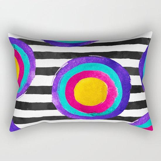 Watercolor stripes and circles Rectangular Pillow