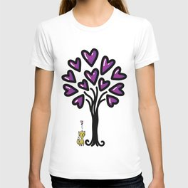 Cat in love sitting under the tree, sketchy doodles T-shirt