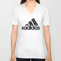 sad V-neck T-shirts featuring Sad by loveme