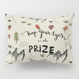 Hand-Drawn Mountain, Tree, Flower and Prize Pattern with Hand Lettering for Goal-Setting Motivation Pillow Sham