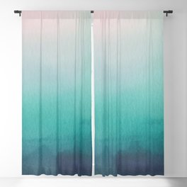Abstract Watercolor Blend Teal - Turquoise Blue and White Paper Texture Blackout Curtain