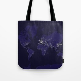 The world map at night in navy blue Tote Bag