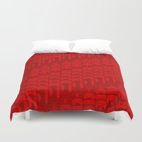 video game Duvet Covers featuring Video Game Controllers - Red by C.Rhodes Design