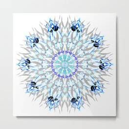 ice flake winter mandala Metal Print