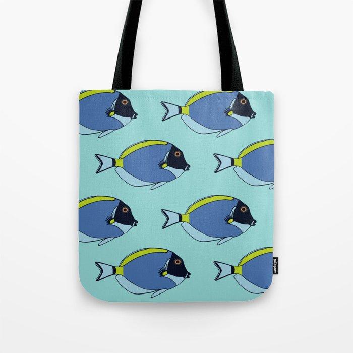 Powder blue surgeon fish pattern Tote Bag