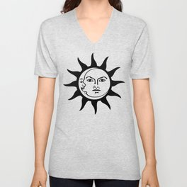 Sun and Moon Faces Vintage Unisex V-Neck