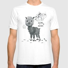 llama or alpaca SMALL White Mens Fitted Tee