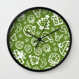 XMAS Green Pattern / Part One Wall Clock