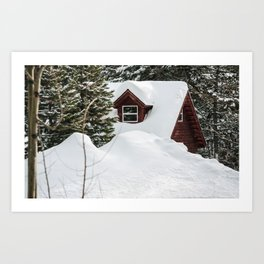 Cabin in the Snow. Art Print