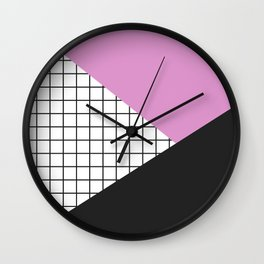 Geometry: black, pink and squres Wall Clock