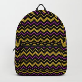 Black gold pink glitter chevron, minimalist, abstract pattern, glam, sparkle Backpack