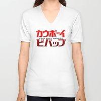 cowboy bebop V-neck T-shirts featuring Cowboy Bebop Logo Remix by InvaderDig