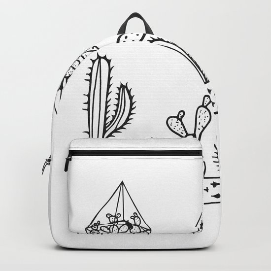 Cactus Garden Black and White Backpack