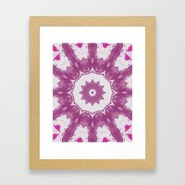 Amethyst & Hot Pink Gemstone Liquid White Smoke Kaleidoscope 4 Digital Painting Framed Art Print