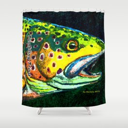 Tumbling Trout Logo - Trout Head Shower Curtain