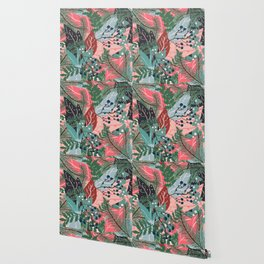 modern christmas abstract floral illustration pink blue green pattern Wallpaper