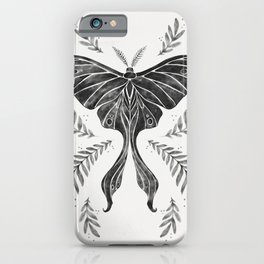 Watercolor Luna Moth in Black and White iPhone Case