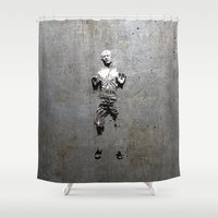 han solo Shower Curtains featuring Han Solo Carbonite by Inara