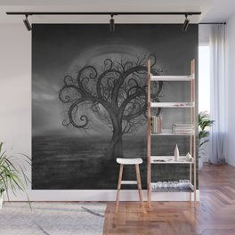 Golden Spiral Tree Black and White Wall Mural