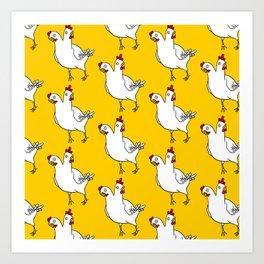 Two Headed Chicken Repeat Pattern Art Print