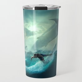 Surfing with sharks Travel Mug