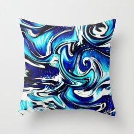 Blue Ripples Throw Pillow