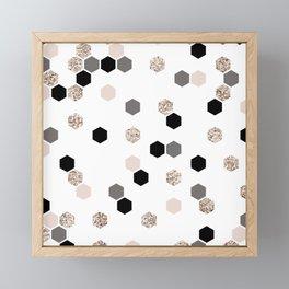 Modern faux gold glitter pink black gray honeycomb pattern Framed Mini Art Print