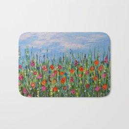 Summer Wildflowers, Landscape Art with Flowers Bath Mat