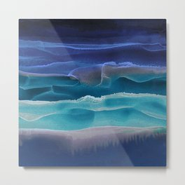 Alcohol Ink Seascape 3 - Sea at Night Metal Print