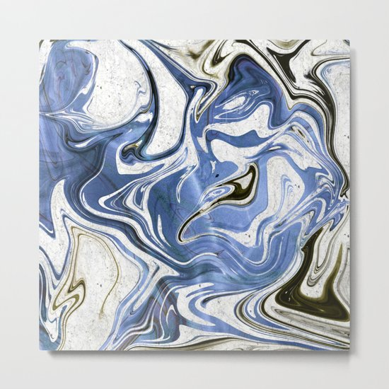 Marble Glitch Metal Print