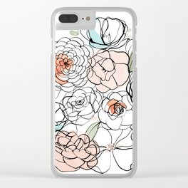 Inky Camellias Clear iPhone Case
