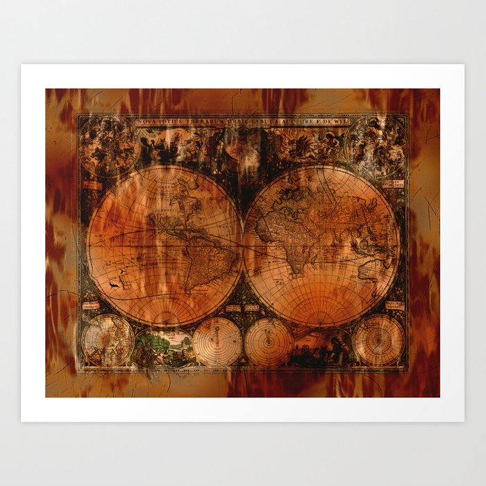Rustic Old World Map Art Print By Onlinegifts Society6