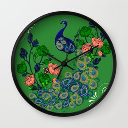 Peacock,floral art Wall Clock
