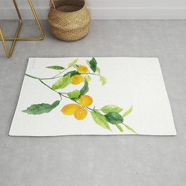 Lemon Branch Watercolor  Rug