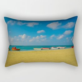 Colorful Boats Adorn the Tranquil Beach Rectangular Pillow