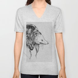 Possum Black Ink Drawing Unisex V-Neck
