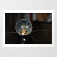 Paris in a Snow Globe  Art Print