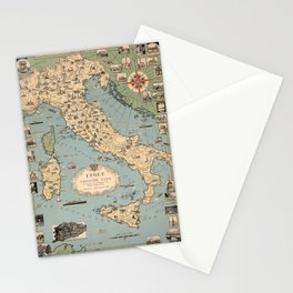 1935 Vintage Map of Italy and Vatican City Stationery Cards