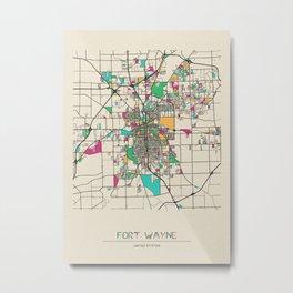 Colorful City Maps: Fort Wayne, Indiana Metal Print