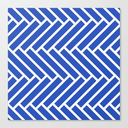 Classic blue and white herringbone pattern Canvas Print