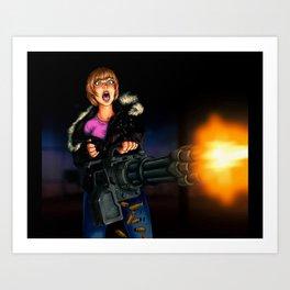 gatling girl Art Print