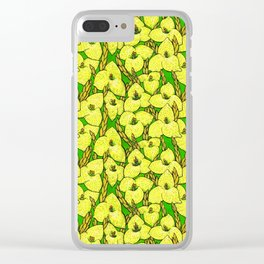 Puya Flowers, Floral Pattern, Green Yellow Clear iPhone Case