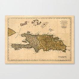 Map Of Hispaniola 1762 Canvas Print