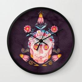 Family Skeleton Sugar Skull Wall Clock