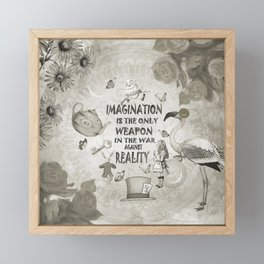 Imagination - Vintage Black & White - Alice In Wonderland Framed Mini Art Print
