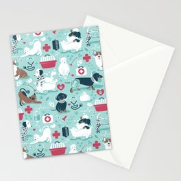 Veterinary medicine, happy and healthy friends // aqua background Stationery Cards