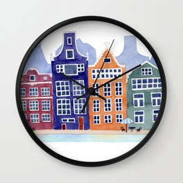 Watercolor Amsterdam Wall Clock
