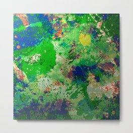 Spring Time Splatter - Abstract blue and green platter painting Metal Print