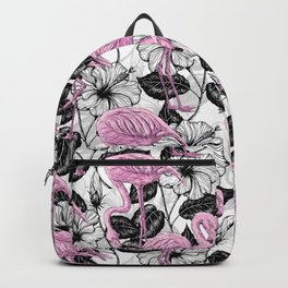 Flamingos and hibiscus flowers Backpack